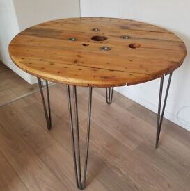 Table upcycled reclaimed wood hairpin legs dining table