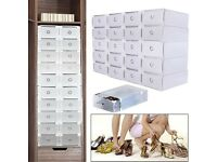 20pcs Clear Foldable Shoe Box 31x20x11cm Plastic Drawer,Stackable Storage-New