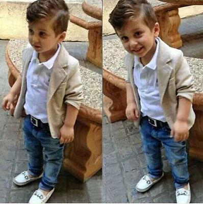 3PCS Baby Boys Gentleman Coat + Shirt +Denim Trousers Set Kids Clothes Outfits