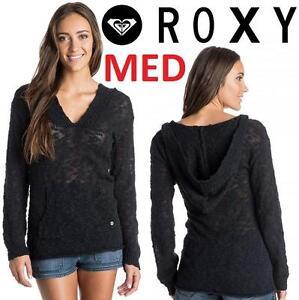 NEW ROXY PONCHO SWEATER WOMEN'S MED - 115284059 - BLACK HOODED WARM HEART TOP HOODIE