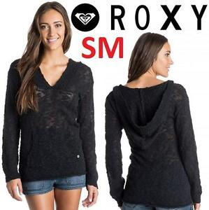 NEW ROXY PONCHO SWEATER WOMEN'S SM - 115282442 - BLACK HOODED WARM HEART TOP HOODIE