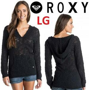 NEW ROXY PONCHO SWEATER WOMEN'S LG - 115284729 - BLACK HOODED WARM HEART TOP HOODIE
