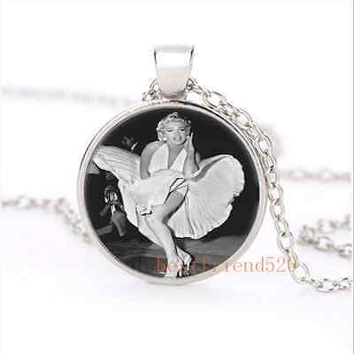 Sexy Marilyn monroe dress Cabochon Glass Silver Necklace for woman Jewelry