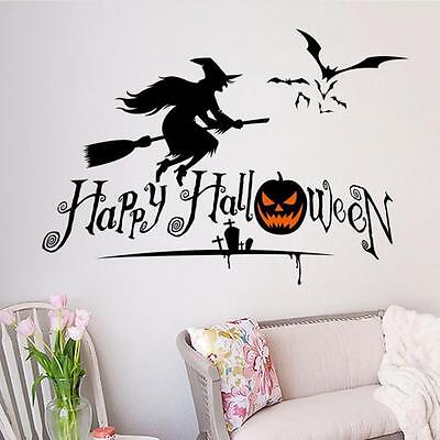 Happy Halloween Mural (12PCS Happy Halloween Pumpkin Witch Bat Wall Sticker Decal Mural Home Decor)
