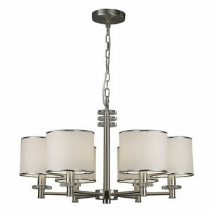 6 Light Brushed Nickel & White Shade Chandelier London Ontario image 1