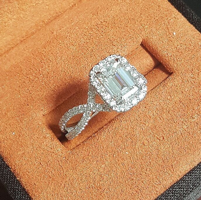 1.85 Ct Halo Emerald Cut Diamond Spiral Shank Pave Engagement Ring D,VS2 GIA 14K 2