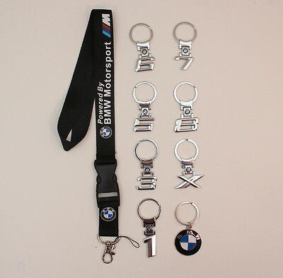 BMW Logo 1 3 5 7 X Series M sport keychain keyring with a BMW Lanyard Holder