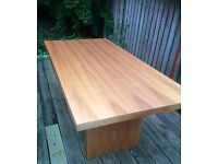 Wooden dinning table & 6 brown leather chairs