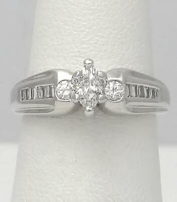 14k WHITE GOLD LEO 1/2ct ROUND MARQUISE BAGUETTE CUT DIAMOND ENGAGEMENT RING 1/2 Ct Marquise Cut Ring