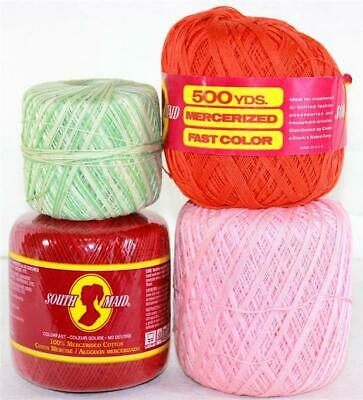 Lot of 4 Mercerized Cotton Crochet Thread Orange Red Pink Green Variegated
