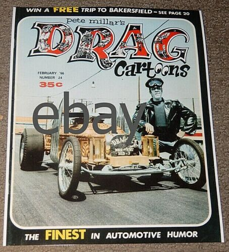 The MUNSTERS 8x10 Color PHOTO TV-Herman on DRAG magazine cover-Hot Rod car
