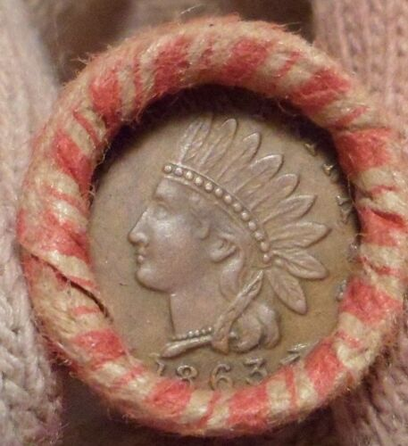 Old Civil War Token is on the end of a 50-coin Mixed Indian / Wheat Cent Roll 7m