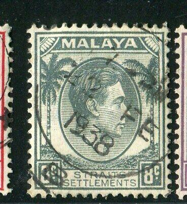 CN-23177 Malaya Straits Settlements VFU Coronation King George VI 8 c. Sc. 236