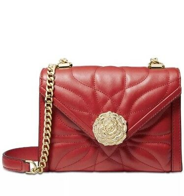 ❤️ Michael Kors Large Petal Whitney Quilted Bright Red/Gold Leather Shoulder (Bright Petal)