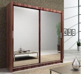 🔥BLACK WALNUT WHITE & WENGE🔥New Berlin Full Mirror 2 Door Sliding Wardrobe in 5 New Colors & Sizes