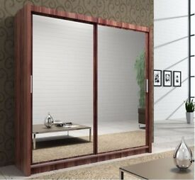 **BLACK WALNUT AND WHITE** BRAND NEW BERLIN 2DOOR SLIDING WARDROBE WITH FULL MIRROR-EXPRESS DELIVERY