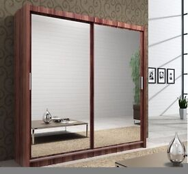 Brand new 120cm 2 sliding door Berlin Wardrobe in Black,white,wench and walnut color!! Order now