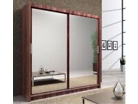 100% GUARANTEED - 2 DOOR WARDROBE WITH TWO DOOR SLIDING MIRROR IN 4 COLOURS - EXPRESS DELIVERY