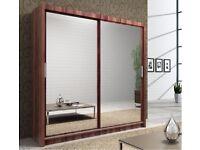 WHITE WALNUT AND BLACK COLORS= Brand New Berlin Full Mirror 2 Door Sliding Wardrobe in Black&White