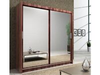 BRAND NEW BERLIN 2 DOOR SLIDING WARDROBE WITH FULL MIRROR -EXPRESS DELIVERY IN WHITE BLACK WENGE OAK
