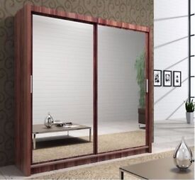 *7-DAYS MONEY BACK GUARANTEE* BRAND NEW BERLIN 2 or 3 DOOR SLIDING WARDROBES WITH FULL MIRRORS SHELF