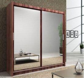 Brand New ** Berlin Full Mirror Or Half Mirror Sliding Door Wardrobge in Black, Walnut, White, Wenge