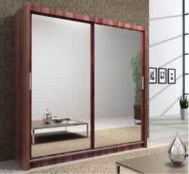 🔥💖Black Walnut & White💗💖 Brand New German Full Mirror 2 Door Sliding Wardrobe w Shelves, Hanging