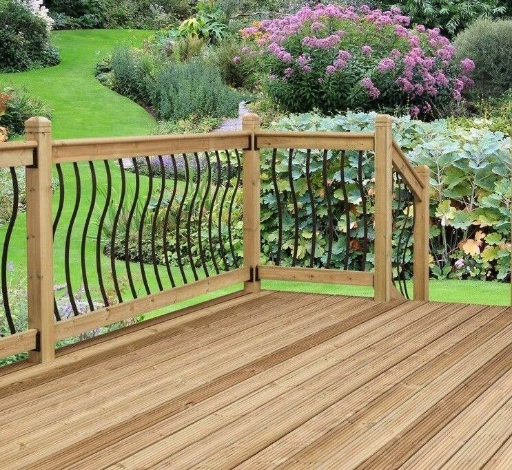 garden fence - Black Metal Spindles. CURVED Decking Panels. WAVY Steel Garden Fence Railings