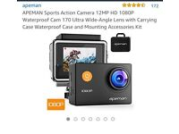 Apeman sports action camera, batteries & all accessories (unwanted gift)