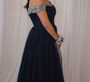 Prom dress Navy blue with small crystal Robe de bal marine new