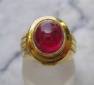 Men's 18K Solid Gold Natural Ruby Ring