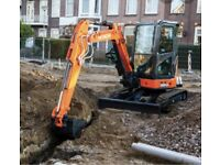 3 ton Mini digger hire with driver ground work