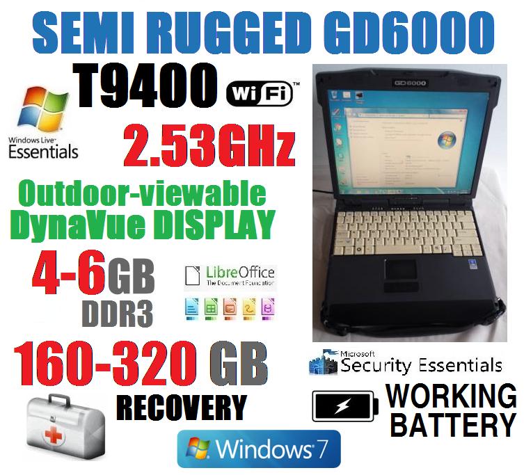 BEATS I5! ITRONIX GD6000 MILSTD SEMI-RUGGED NOTEBOOK 2.53G OUTDOOR DISPLAY WIFI