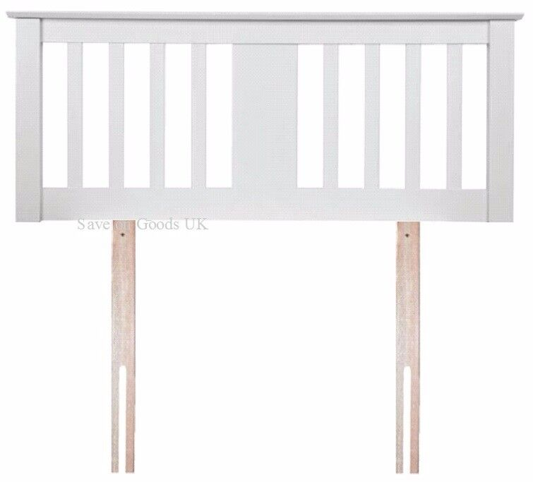 BRAND NEW, STILL BOXED. 4ft6 double white wood headboard bed head end. Sweet Dreams Gere white