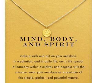 Om symbol Gold Meditation Mind Body and Spirit Necklace Peace Yoga Buddha