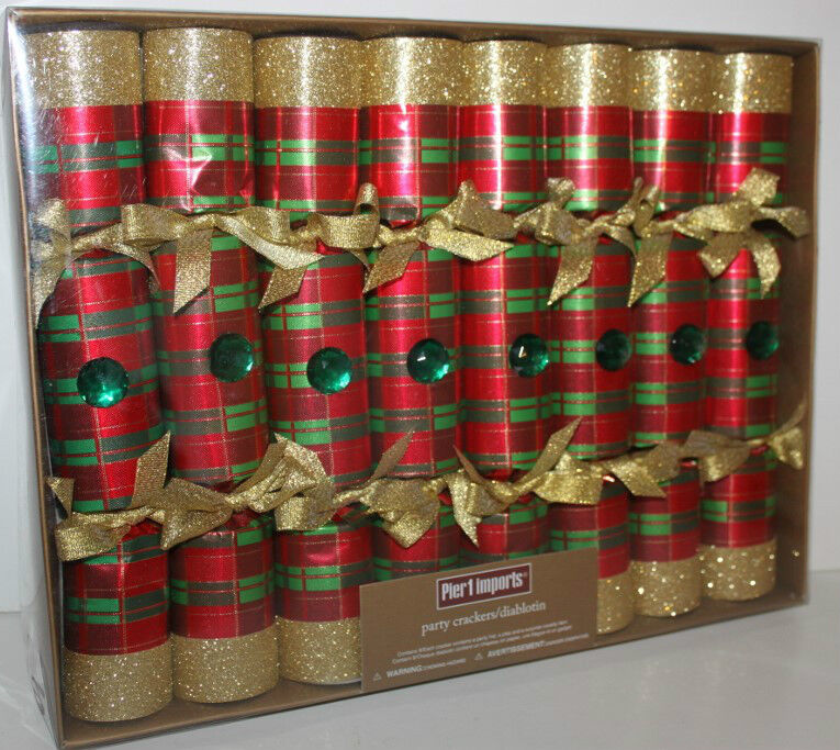 Pier 1 Imports NIP 8 Pc. Christmas Holiday Party Crackers Favors Glitter & Gem