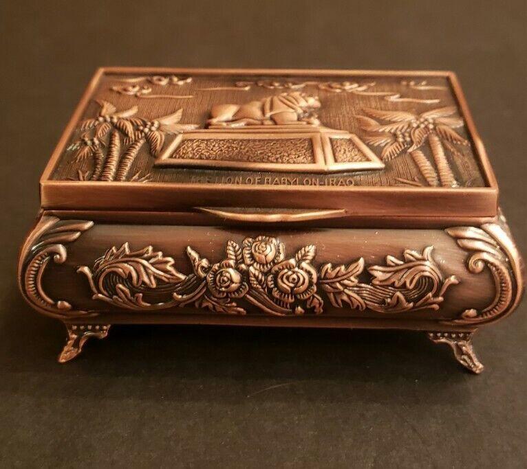 The Lion Of Babylon~Iraq Souvenir Trinket Ring Box Copper