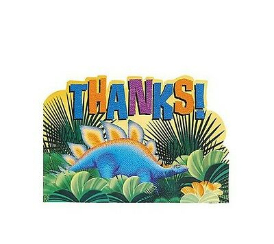 DINOSAUR PREHISTORIC PARTY THANK YOU CARDS (8) Birthday Supplies StationerySEALS - Prehistoric Party Supplies