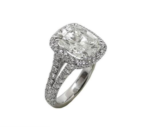 4.12 Carat 18k White Gold Cushion Cut Diamond Engagement ring GIA Certified 2