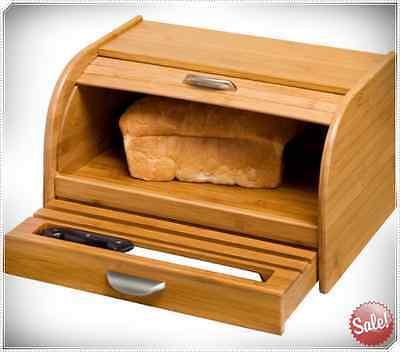 BREAD BOX BAMBOO ROLL TOP WOOD KITCHEN WOODEN VINTAGE ROLLTOP SNACKS STORAGE BIN