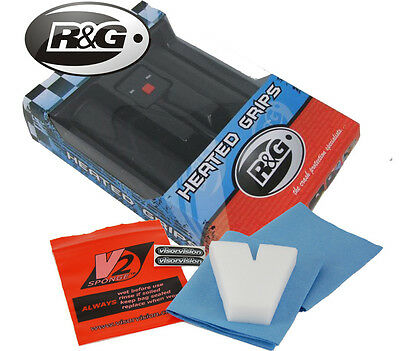 R&G HEATED GRIPS, 5 HEAT SETINGS HONDA CBF125, FREE V2 VISOR CLEANING SPONGE