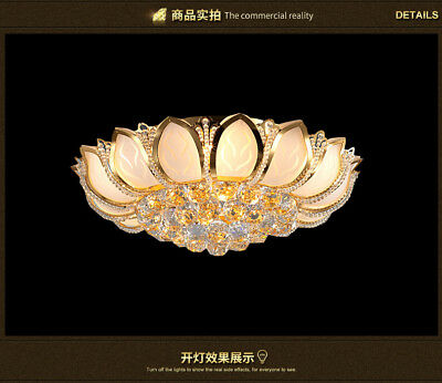 Modern Gold K9 Crystal Chandelier Lamps Bedroom Flush Ceiling Lighting Fixture ()