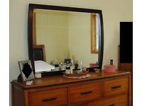 Beautiful 2 tone solid wood dresser with mirror & 7 drawers. EXCELLENT condition. Must collect. PE32