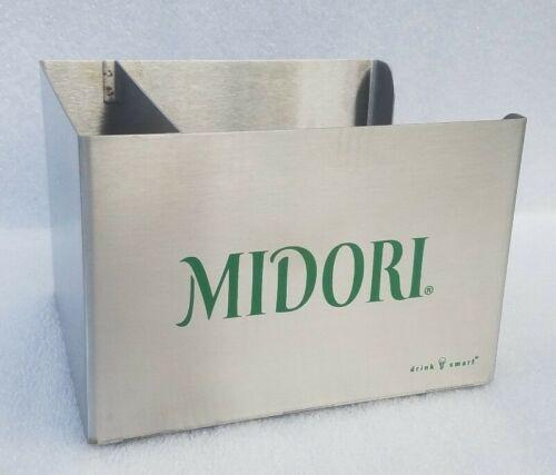 MIDORI Liqueur Bar Caddy Metal Napkin & Staw Holder Two Compartment Man Cave NEW