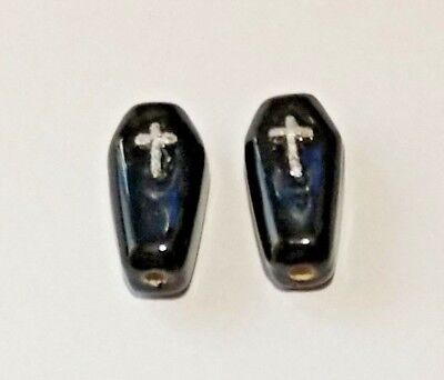 2 Peruvian Ceramic MINI Halloween Coffin Earring Beads DIY Charm - Diy Coffin Halloween