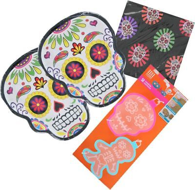 Day of the Dead Party Supplies, Paper Plates Napkins Cookie Cutters Sugar Skull - Skull Paper Plates