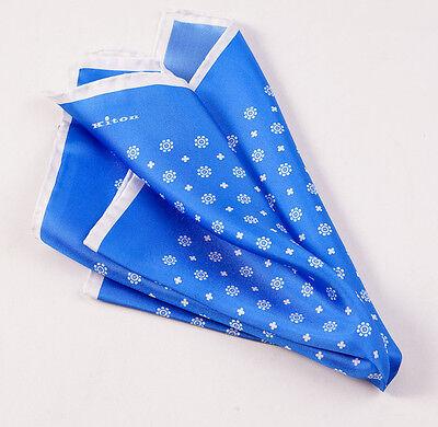 New $215 KITON NAPOLI Medium Blue-White Floral Medallion Silk Pocket Square
