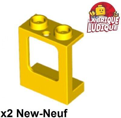 Lego - 2x Window 1x2x2 Plane Single Glass Yellow/Yellow 60032 New