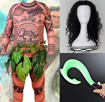 Maui Cosplay Costumes Outfit Wig Toy Hook 5Pcs Set Adult Halloween Moana Cos Set