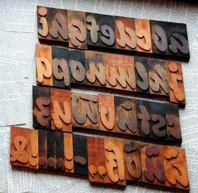 A-z Alphabet 3.54 Letterpress Wooden Printing Blocks Wood Type Vintage Printer